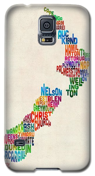 New Zealand Typography Text Map Galaxy S5 Case by Michael Tompsett