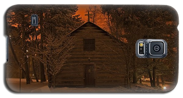 Notre Dame Log Chapel Winter Night Galaxy S5 Case by John Stephens