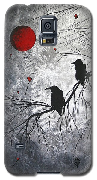 Original Abstract Surreal Raven Red Blood Moon Painting The Overseers By Madart Galaxy S5 Case by Megan Duncanson