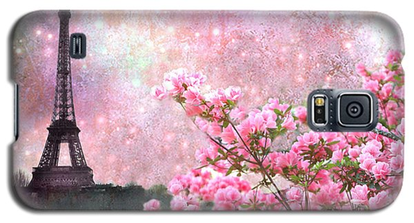 Paris Eiffel Tower Cherry Blossoms - Paris Spring Eiffel Tower Pink Blossoms  Galaxy S5 Case by Kathy Fornal