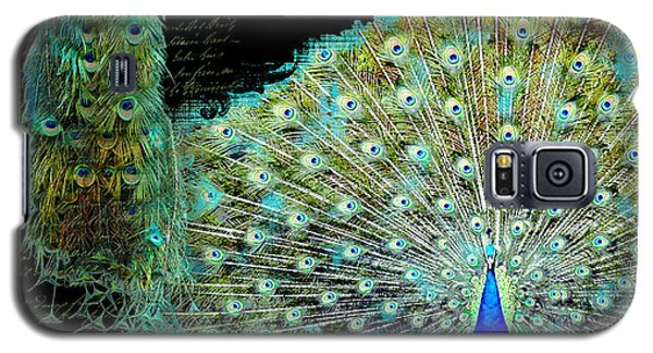 Peacock Pair On Tree Branch Tail Feathers Galaxy S5 Case by Audrey Jeanne Roberts