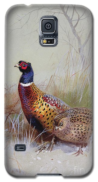 Pheasants In The Snow Galaxy S5 Case by Archibald Thorburn