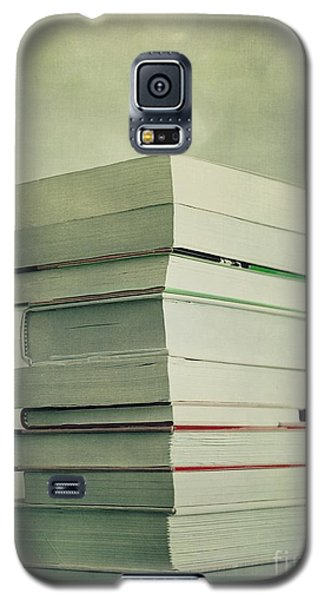 Still Life Galaxy S5 Cases - Piled Reading Matter Galaxy S5 Case by Priska Wettstein