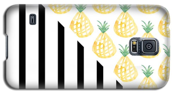 Pineapples And Stripes Galaxy S5 Case by Linda Woods