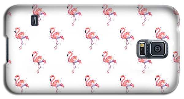 Pink Flamingo Watercolor Pattern Galaxy S5 Case by Olga Shvartsur