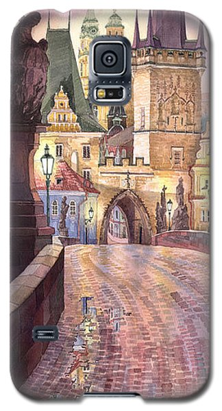 Galaxy S5 Cases - Prague Charles Bridge Night Light 1 Galaxy S5 Case by Yuriy  Shevchuk