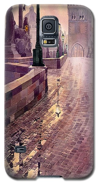 Galaxy S5 Cases - Prague Charles Bridge Night Light Galaxy S5 Case by Yuriy  Shevchuk