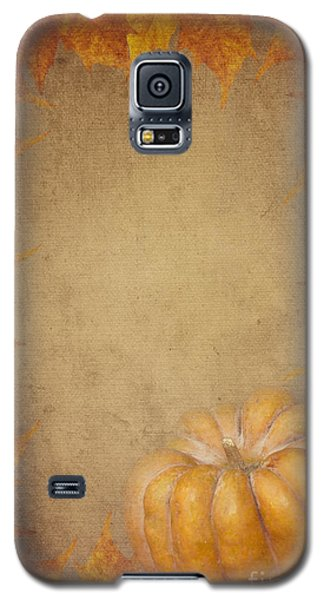Pyrography Galaxy S5 Cases - Pumpkin And Maple Leaves Galaxy S5 Case by Jelena Jovanovic