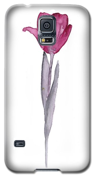 Purple Tulip Botanical Artwork Poster Galaxy S5 Case by Joanna Szmerdt