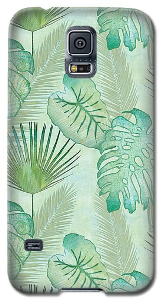 Rainforest Tropical - Elephant Ear And Fan Palm Leaves Repeat Pattern Galaxy S5 Case by Audrey Jeanne Roberts