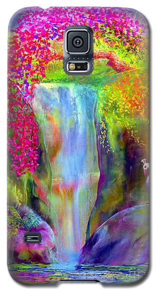 Waterfall And White Peacock, Redbud Falls Galaxy S5 Case by Jane Small