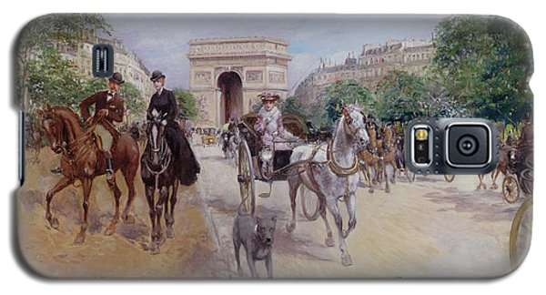Riders And Carriages On The Avenue Du Bois Galaxy S5 Case by Georges Stein