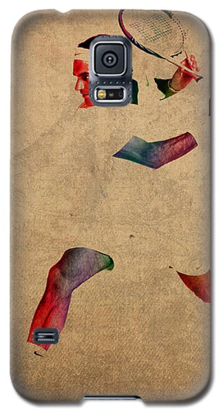 Roger Federer Watercolor Portrait On Worn Canvas Galaxy S5 Case by Design Turnpike