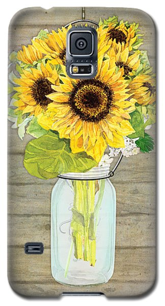 Rustic Country Sunflowers In Mason Jar Galaxy S5 Case by Audrey Jeanne Roberts