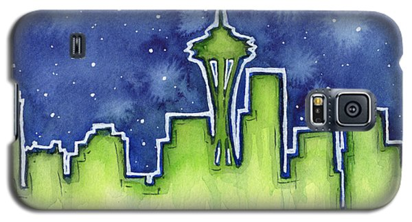 Seattle Night Sky Watercolor Galaxy S5 Case by Olga Shvartsur