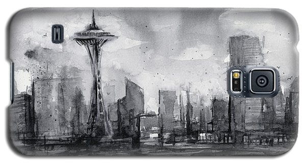 Seattle Skyline Painting Watercolor  Galaxy S5 Case by Olga Shvartsur