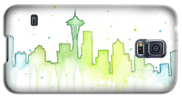 Seattle Skyline Watercolor  Galaxy S5 Case by Olga Shvartsur