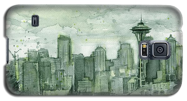 Seattle Skyline Watercolor Space Needle Galaxy S5 Case by Olga Shvartsur