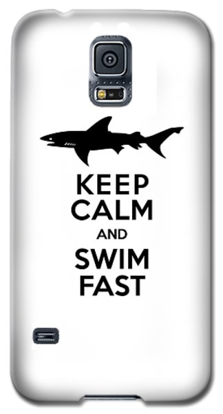 Sharks Keep Calm And Swim Fast Galaxy S5 Case by Antique Images