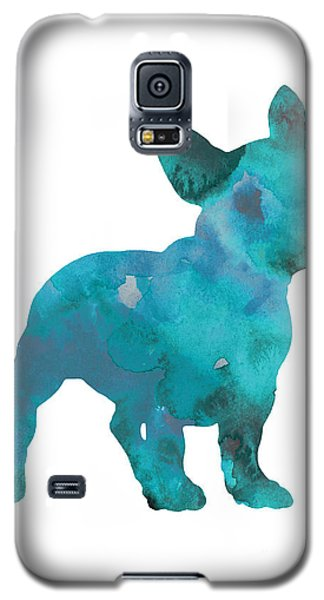 Teal Frenchie Abstract Painting Galaxy S5 Case by Joanna Szmerdt