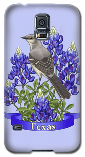 Texas State Mockingbird And Bluebonnet Flower Galaxy S5 Case by Crista Forest