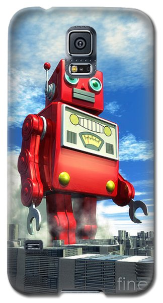 The Red Tin Robot And The City Galaxy S5 Case by Luca Oleastri