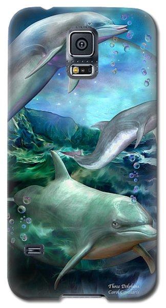 Three Dolphins Galaxy S5 Case by Carol Cavalaris