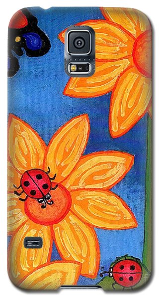 Three Ladybugs And Butterfly Galaxy S5 Case by Genevieve Esson