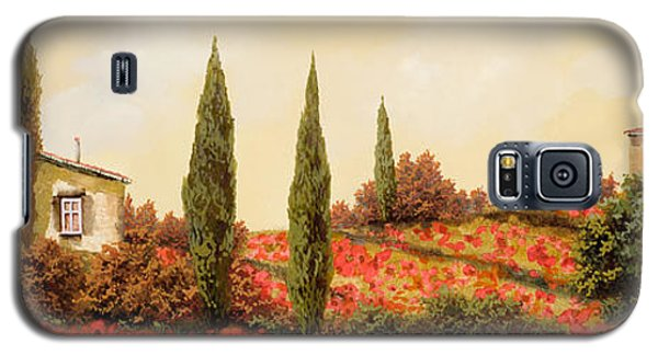 Landscapes Galaxy S5 Cases - Tre Case Tra I Papaveri Galaxy S5 Case by Guido Borelli