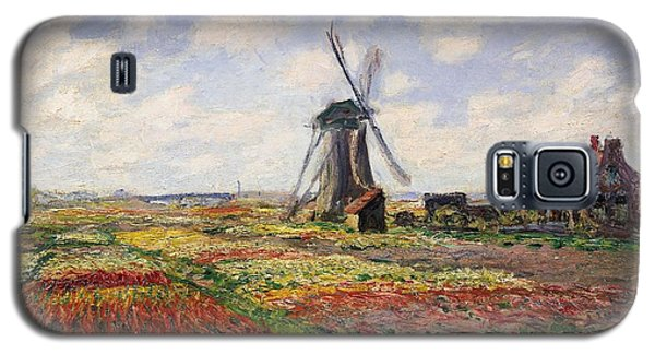 Tulip Fields With The Rijnsburg Windmill Galaxy S5 Case by Claude Monet