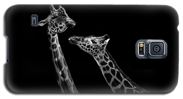 Two Giraffes In Black And White Galaxy S5 Case by Lukas Holas