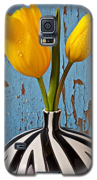 Blue Galaxy S5 Cases - Two Yellow Tulips Galaxy S5 Case by Garry Gay