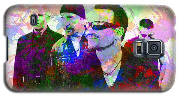 U2 Band Portrait Paint Splatters Pop Art Galaxy S5 Case by Design Turnpike