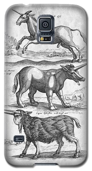 Unicorns Historiae Naturalis 1657 Galaxy S5 Case by Aged Pixel