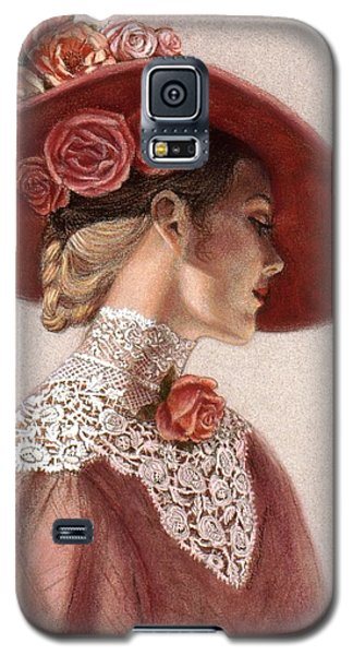 Pastels Galaxy S5 Cases - Victorian Lady in a Rose Hat Galaxy S5 Case by Sue Halstenberg