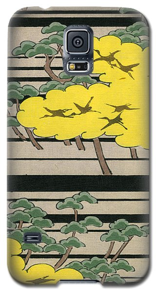 Vintage Japanese Illustration Of An Abstract Forest Landscape With Flying Cranes Galaxy S5 Case by Japanese School