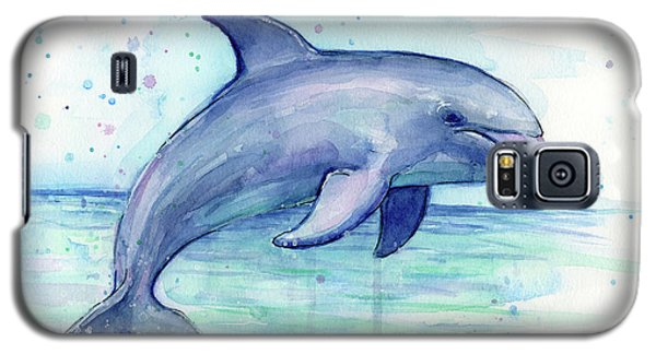 Watercolor Dolphin Painting - Facing Right Galaxy S5 Case by Olga Shvartsur