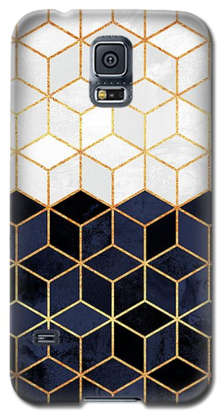 White And Navy Cubes Galaxy S5 Case by Elisabeth Fredriksson
