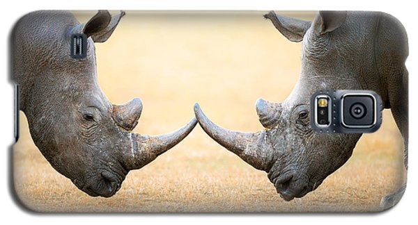 White Rhinoceros  Head To Head Galaxy S5 Case by Johan Swanepoel