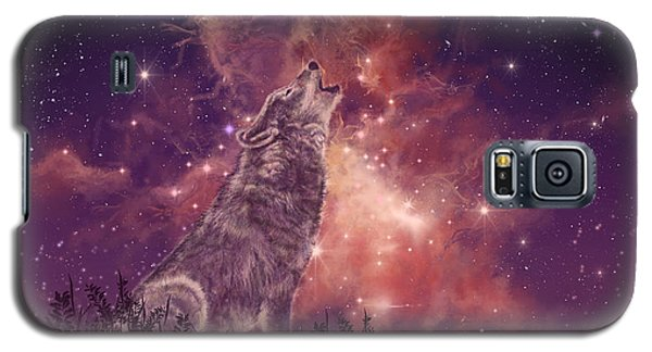Wolf And Sky Red Galaxy S5 Case by Bekim Art