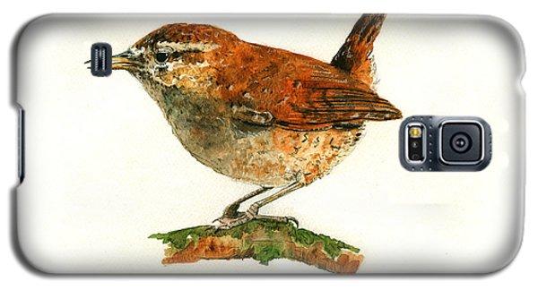 Wren Bird Art Painting Galaxy S5 Case by Juan  Bosco
