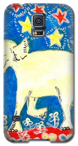 Ceramics Galaxy S5 Cases - Yellow elephant facing left Galaxy S5 Case by Sushila Burgess