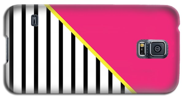 Yellow Pink And Black Geometric 2 Galaxy S5 Case by Linda Woods