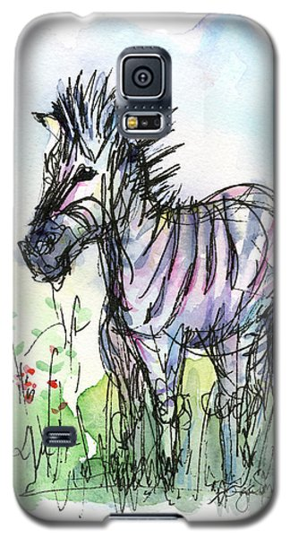 Zebra Painting Watercolor Sketch Galaxy S5 Case by Olga Shvartsur