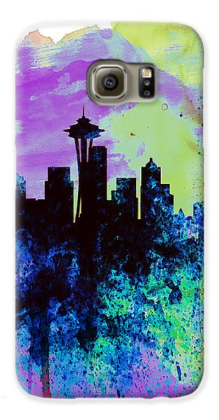 Seattle Watercolor Skyline 1 Galaxy S6 Case by Naxart Studio