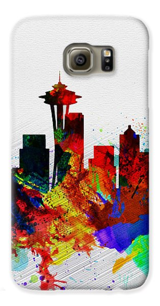 Seattle Watercolor Skyline 2 Galaxy S6 Case by Naxart Studio