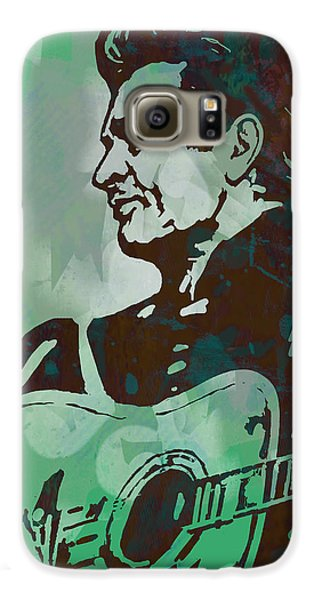 Johnny Cash - Stylised Etching Pop Art Poster Galaxy S6 Case by Kim Wang