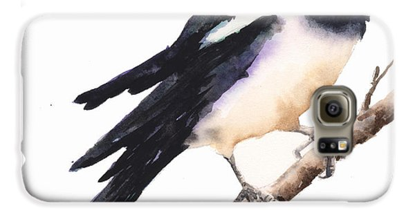 Magpie Painting Galaxy S6 Case by Alison Fennell