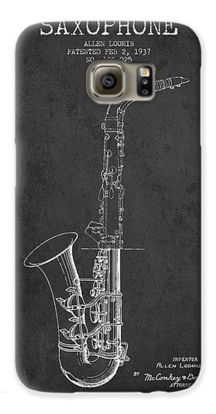 Saxophone Patent Drawing From 1937 - Dark Galaxy S6 Case by Aged Pixel
