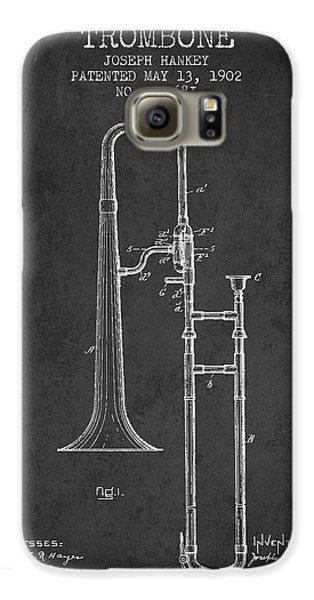 Trombone Patent From 1902 - Dark Galaxy S6 Case by Aged Pixel
